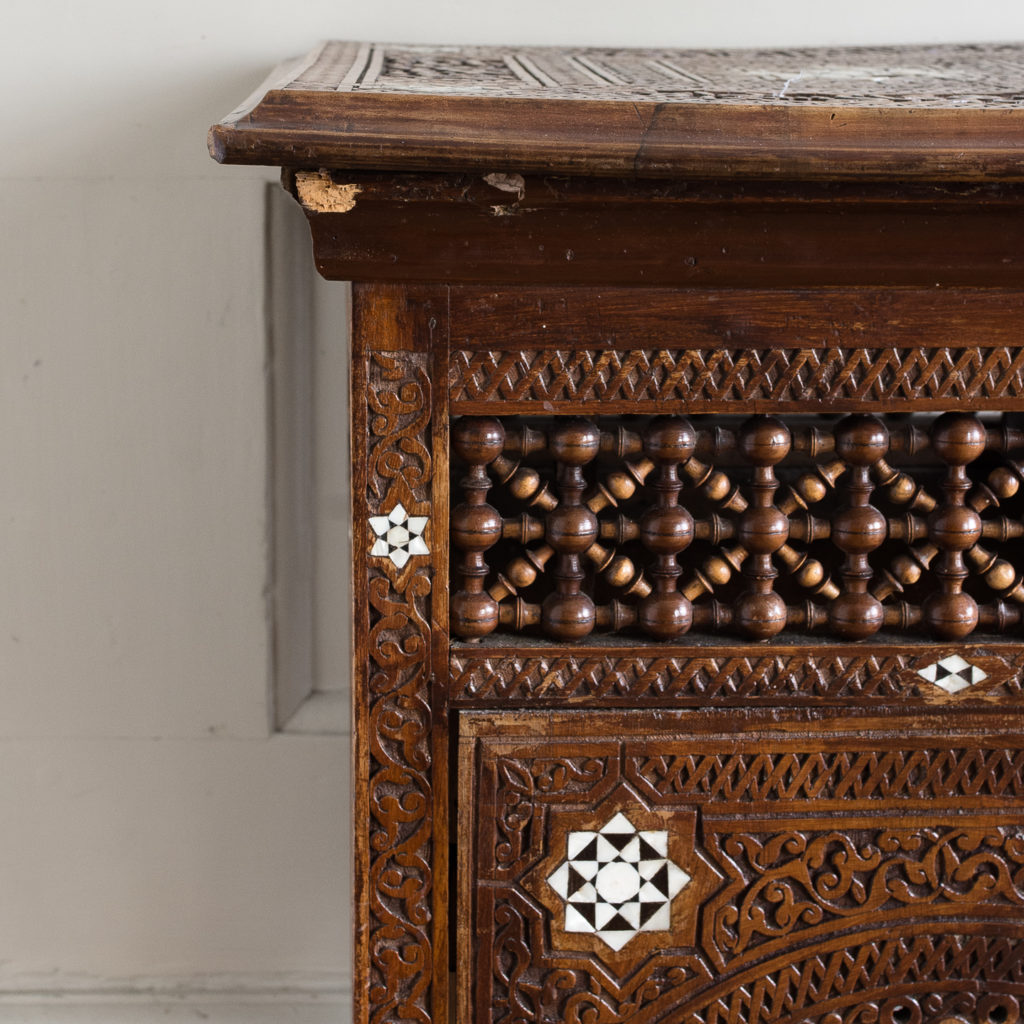 Syrian hardwood carved and inlaid occasional table,-132766