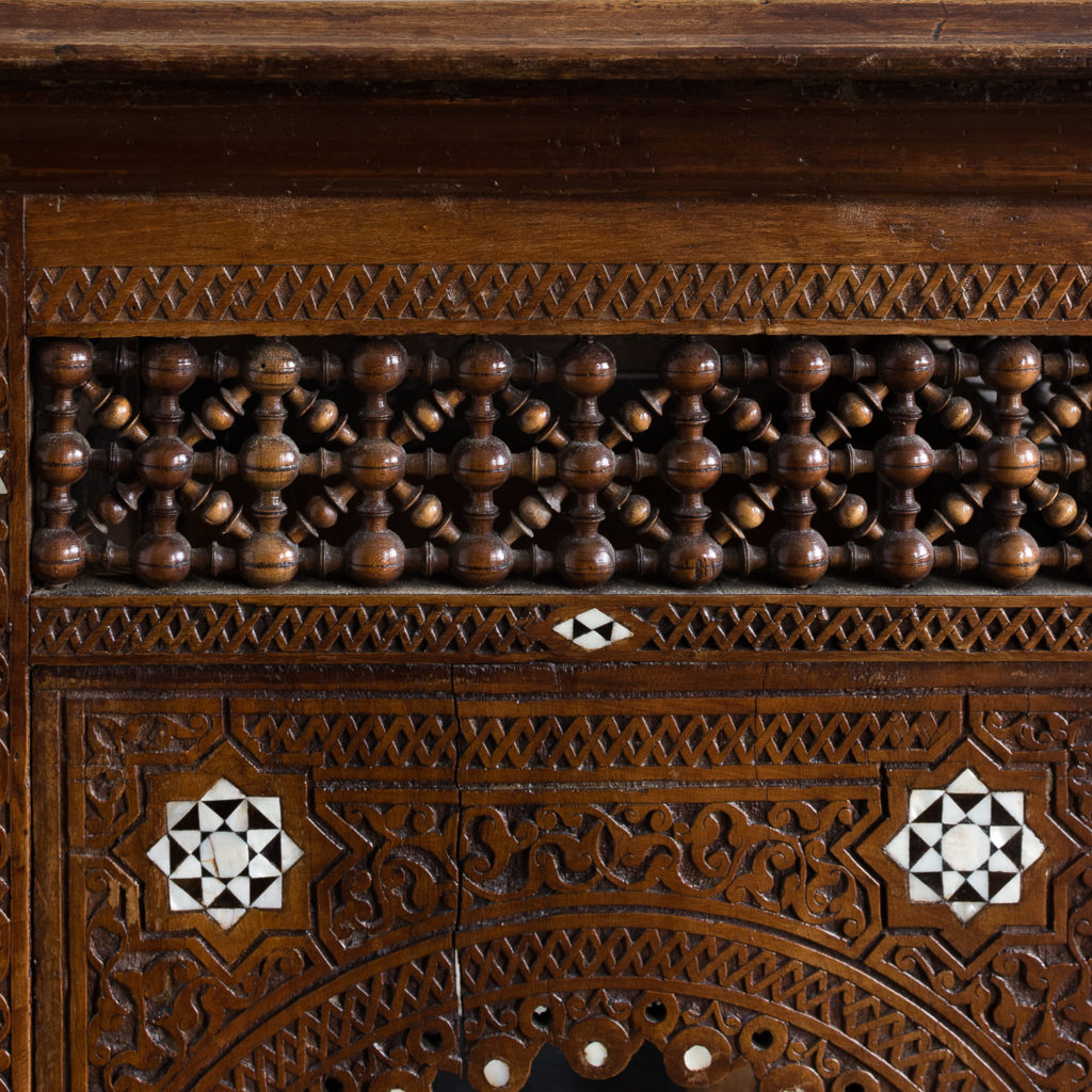 Syrian hardwood carved and inlaid occasional table,-132769