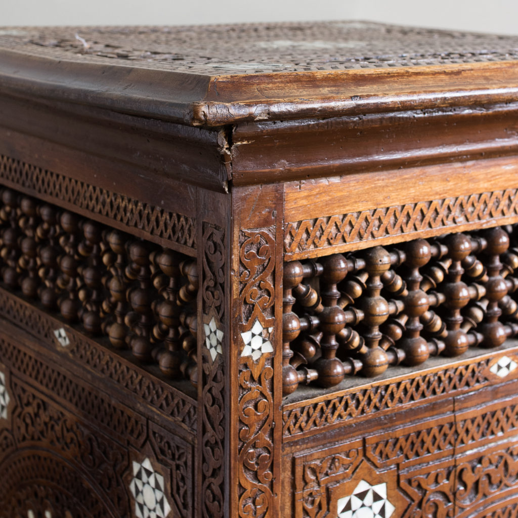 Syrian hardwood carved and inlaid occasional table,-132771