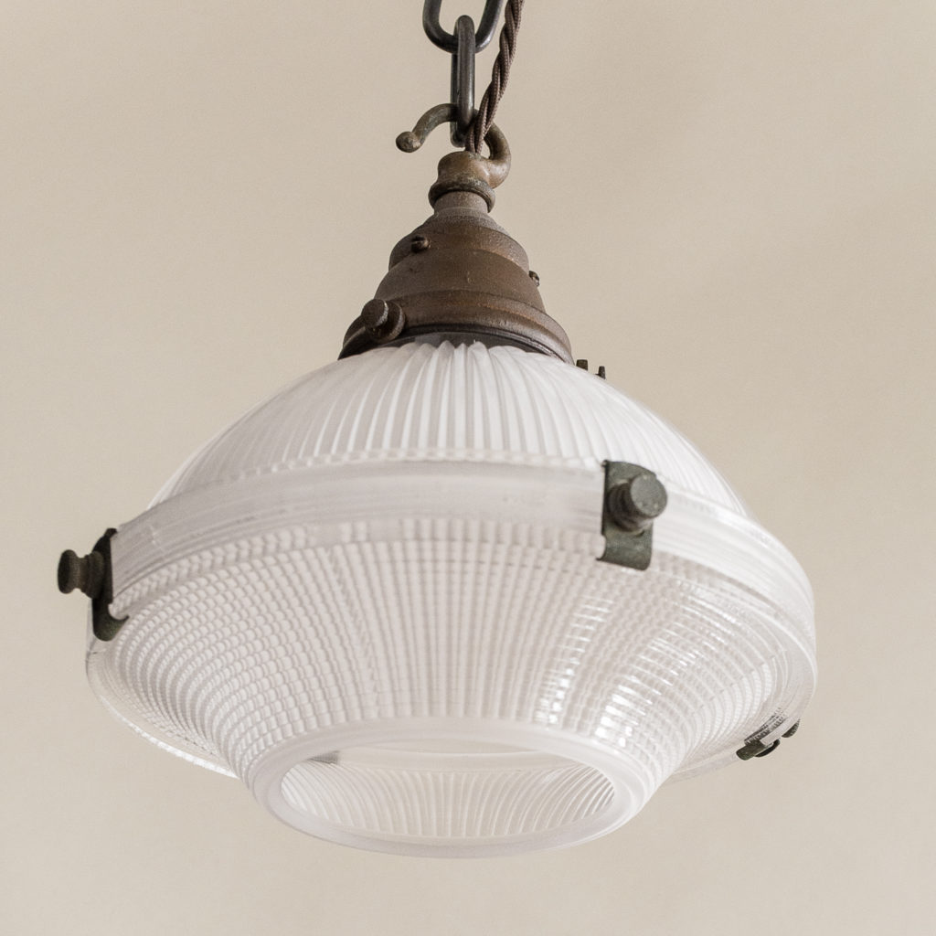 1920s prismatic Holophane pendant lights,