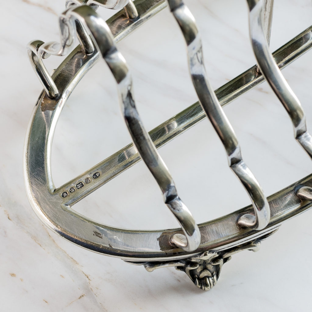 Nineteenth century silver-plated six section toast rack,-132802