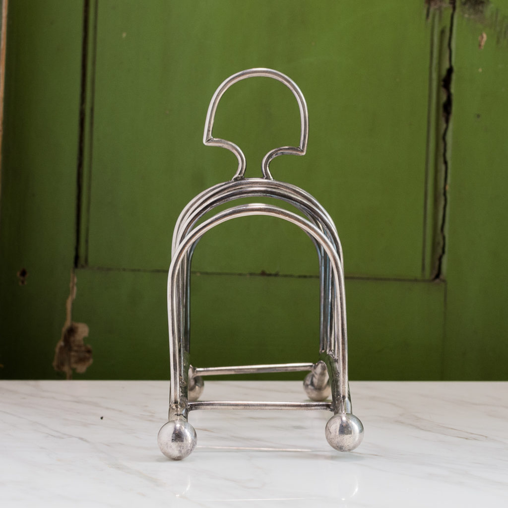 Late nineteenth century silver-plated toast rack,