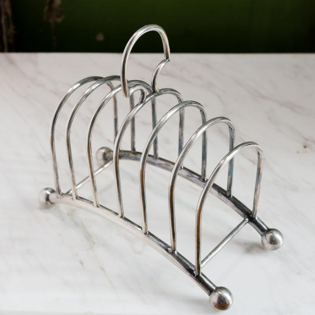 Late nineteenth century silver-plated toast rack,-132812