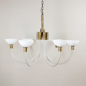 St George Street glass and brass Italian chandeliers,