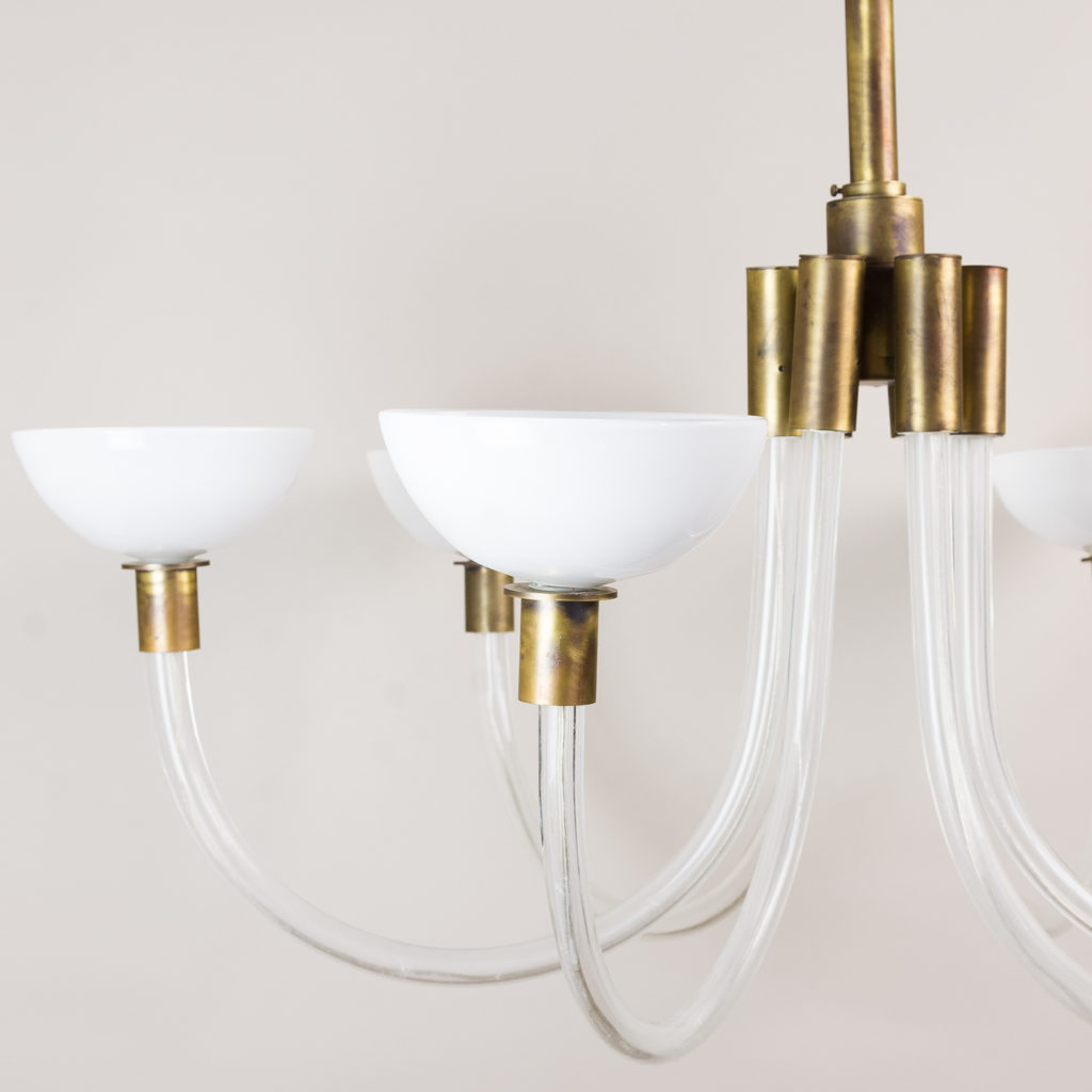 St George Street glass and brass Italian chandeliers, -132695