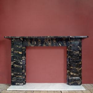 Antique Portoro marble fireplace mantel