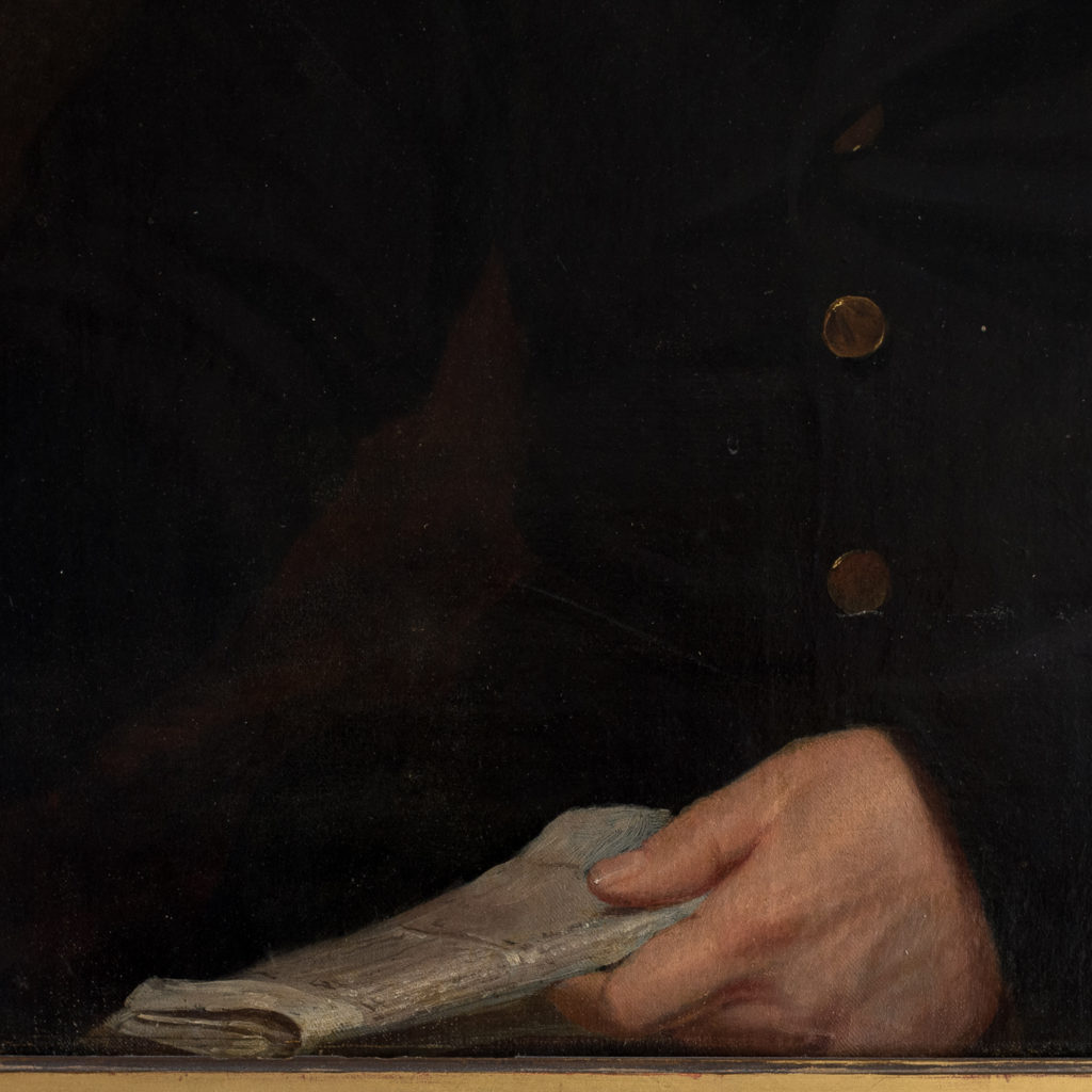 Portrait of a seated a gentleman holding papers-133221