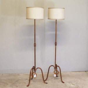 A pair of gilt wrought iron standard lamps-0