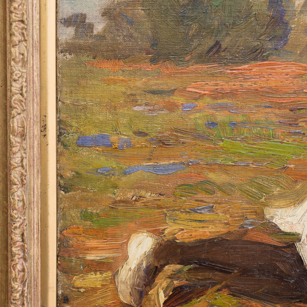 Edwardian oil on canvas of a reclining lady,-133556