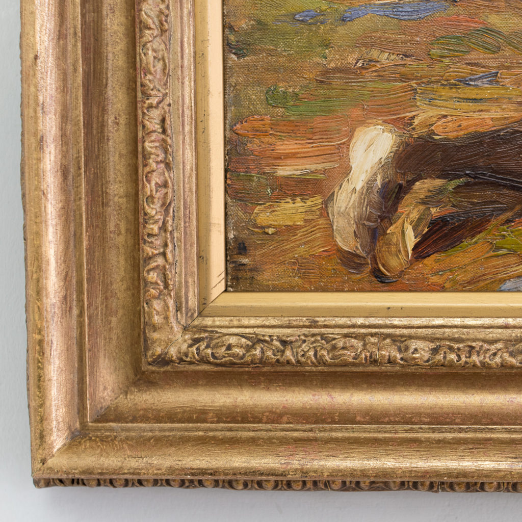Edwardian oil on canvas of a reclining lady,-133559
