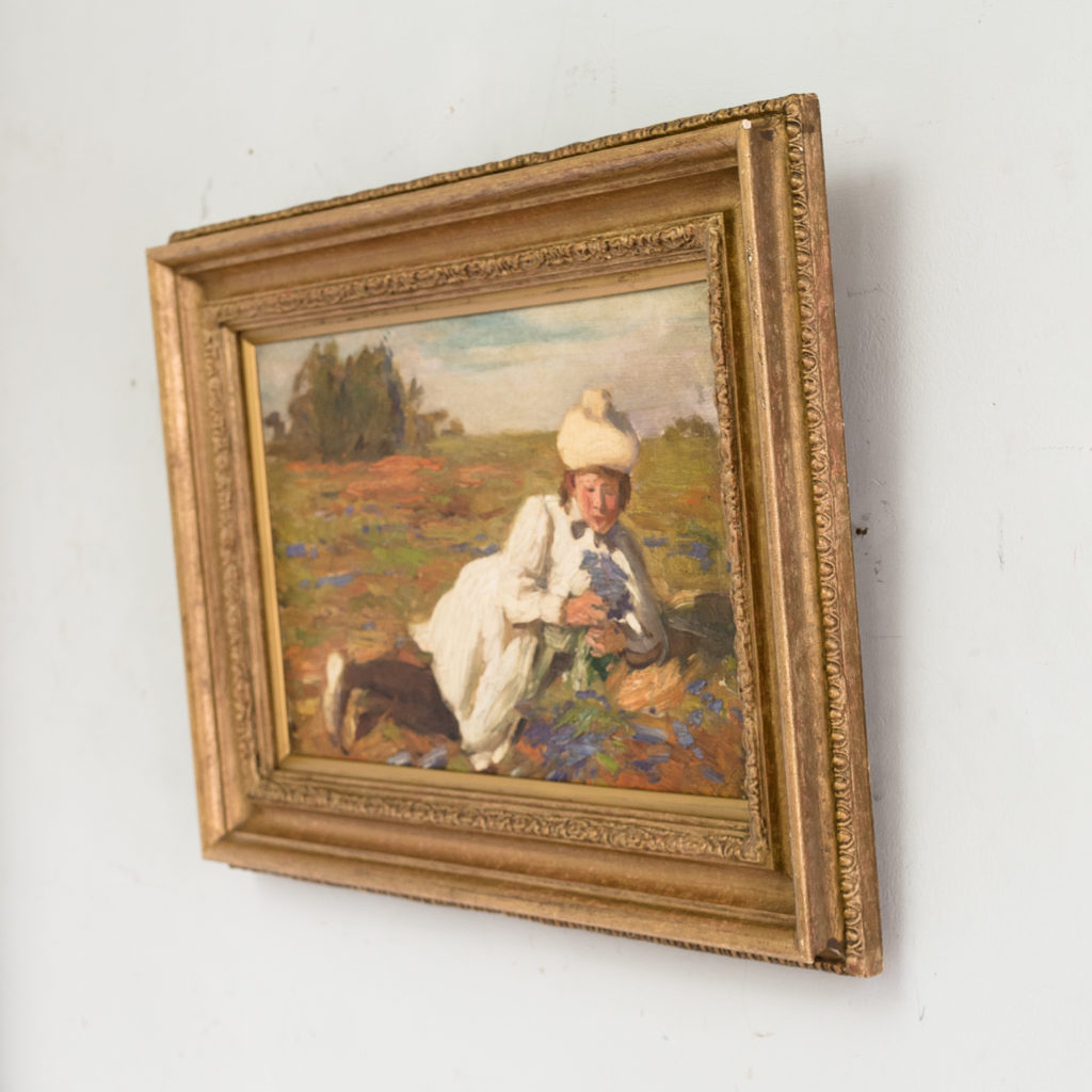 Edwardian oil on canvas of a reclining lady,-133558
