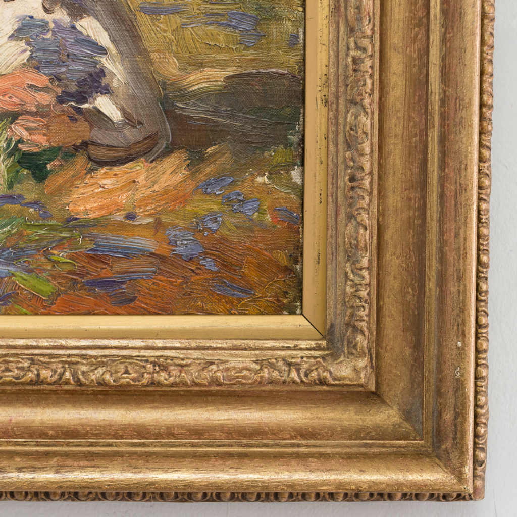 Edwardian oil on canvas of a reclining lady,-133562