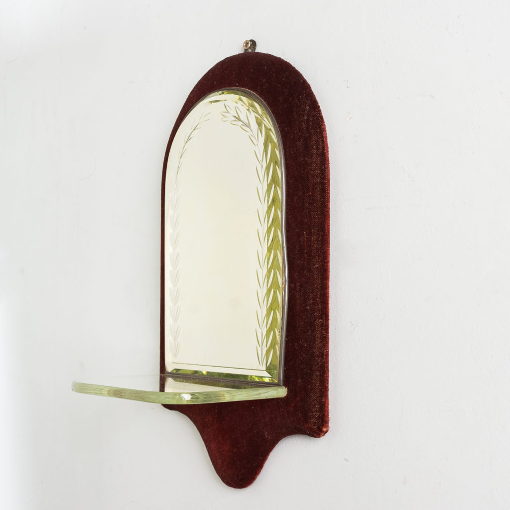 Edwardian velvet backed candle sconce,