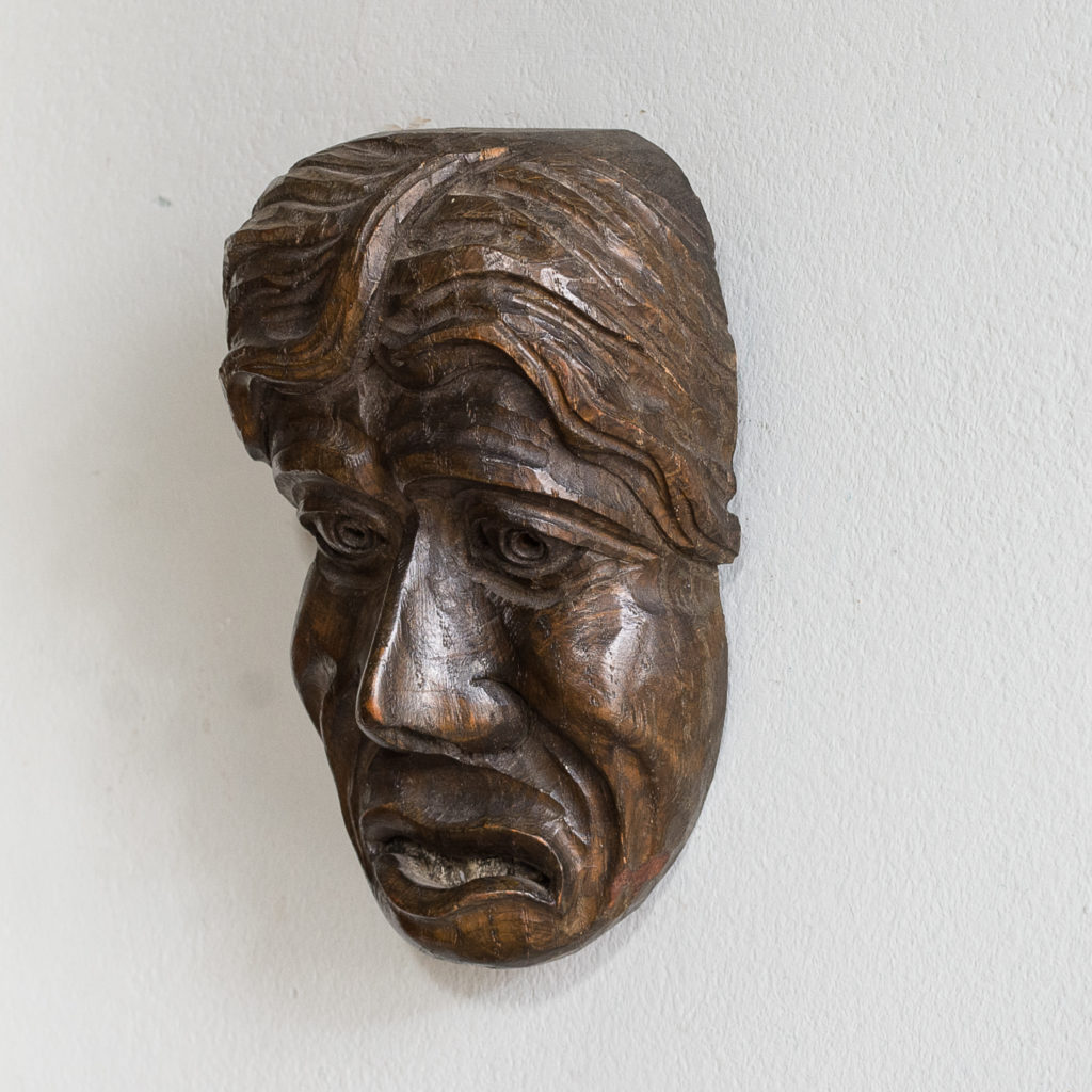 Early twentieth century carved oak grotesque mask,-133588
