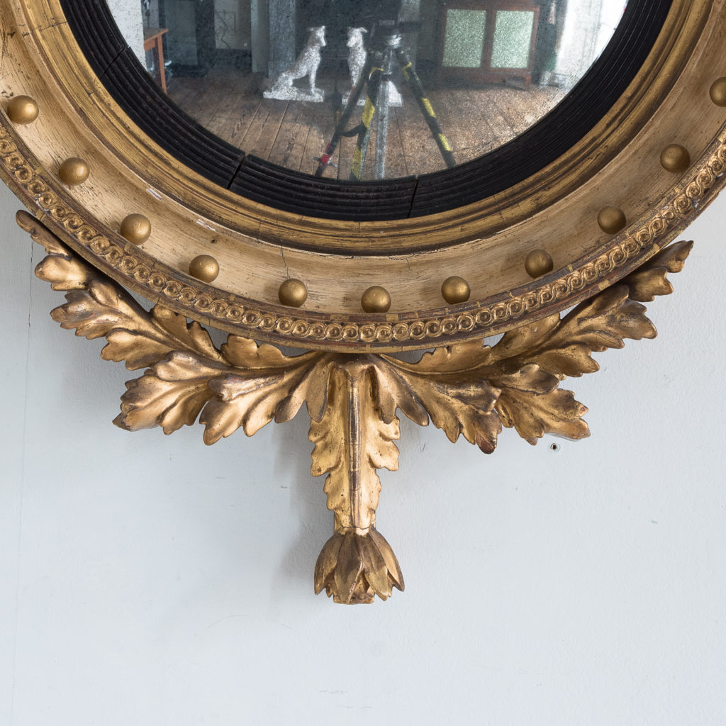 Regency giltwood convex mirror,-134282