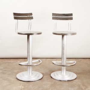 A pair of industrial bar stools,-0
