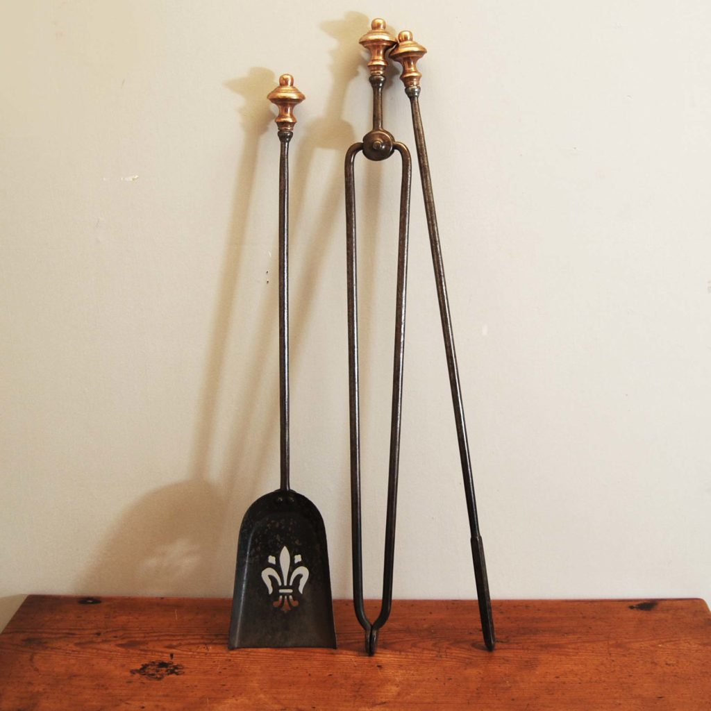 A set of steel and rose brass fire tools-0