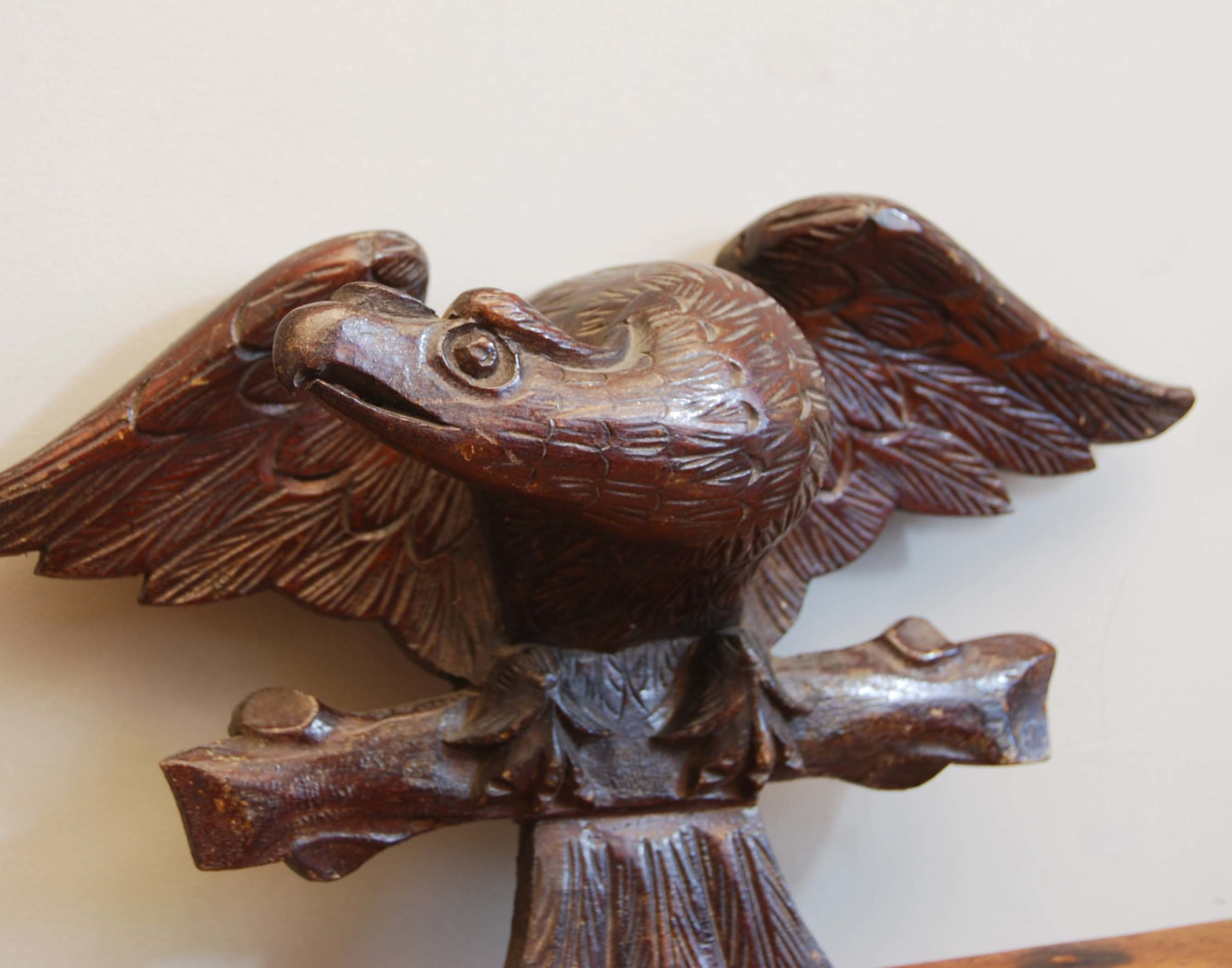A pair of Black Forest carved eagle appliques-134682