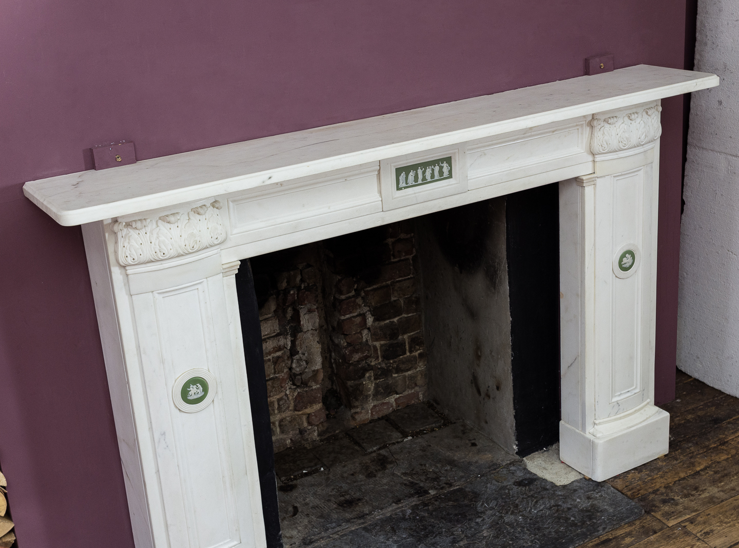 Regency statuary marble chimneypiece,-134713