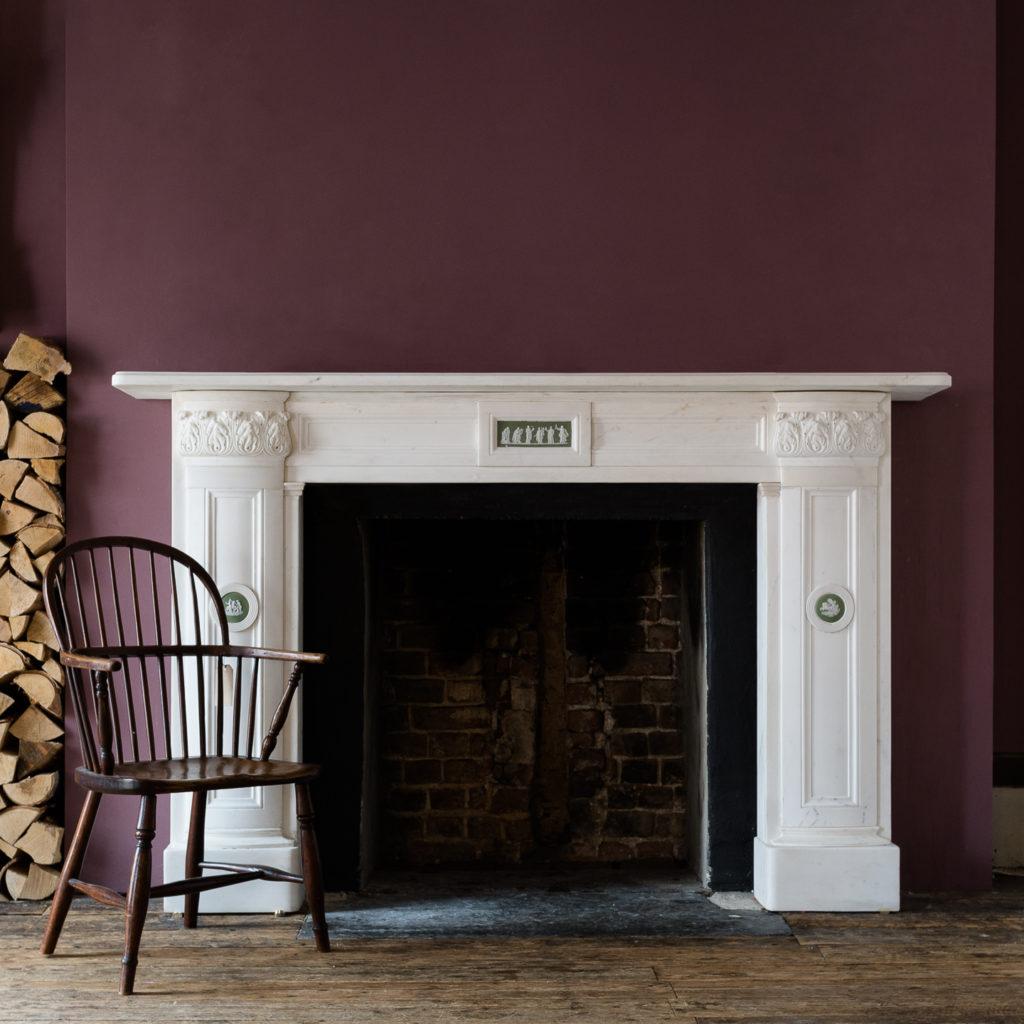 Regency statuary marble fireplace mantel