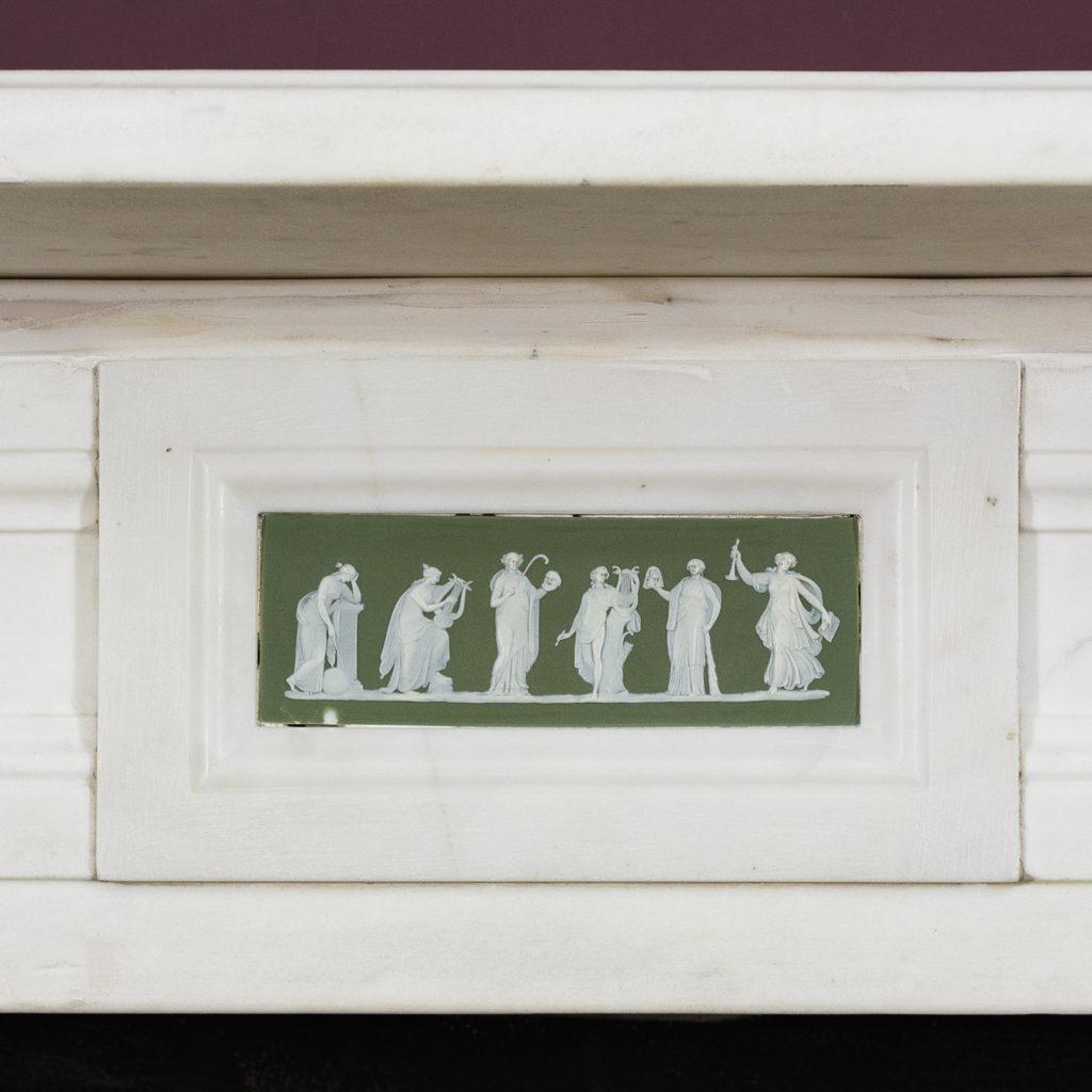 Sage green Wedgewood Jasparware depicting six of the Greek Muses.