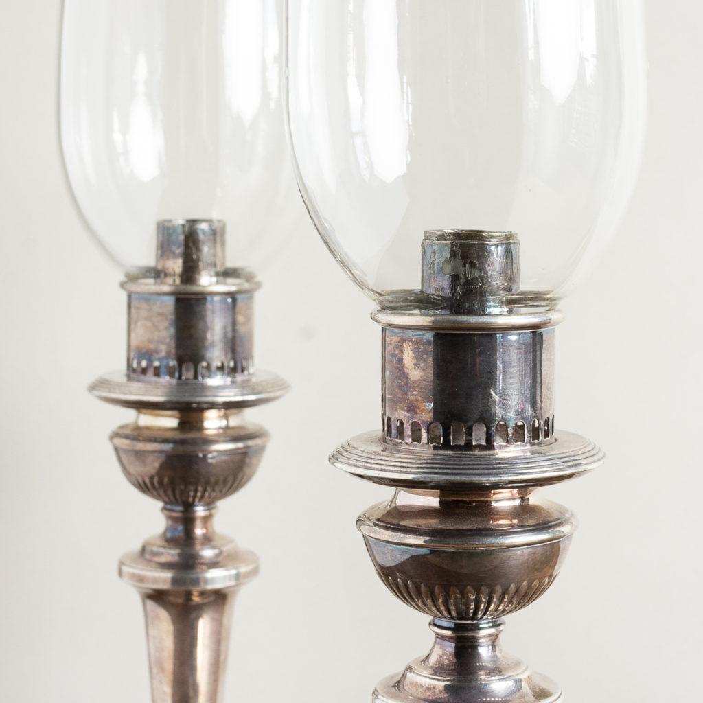 Pair of nineteenth century Sheffield plate candlesticks,-134885