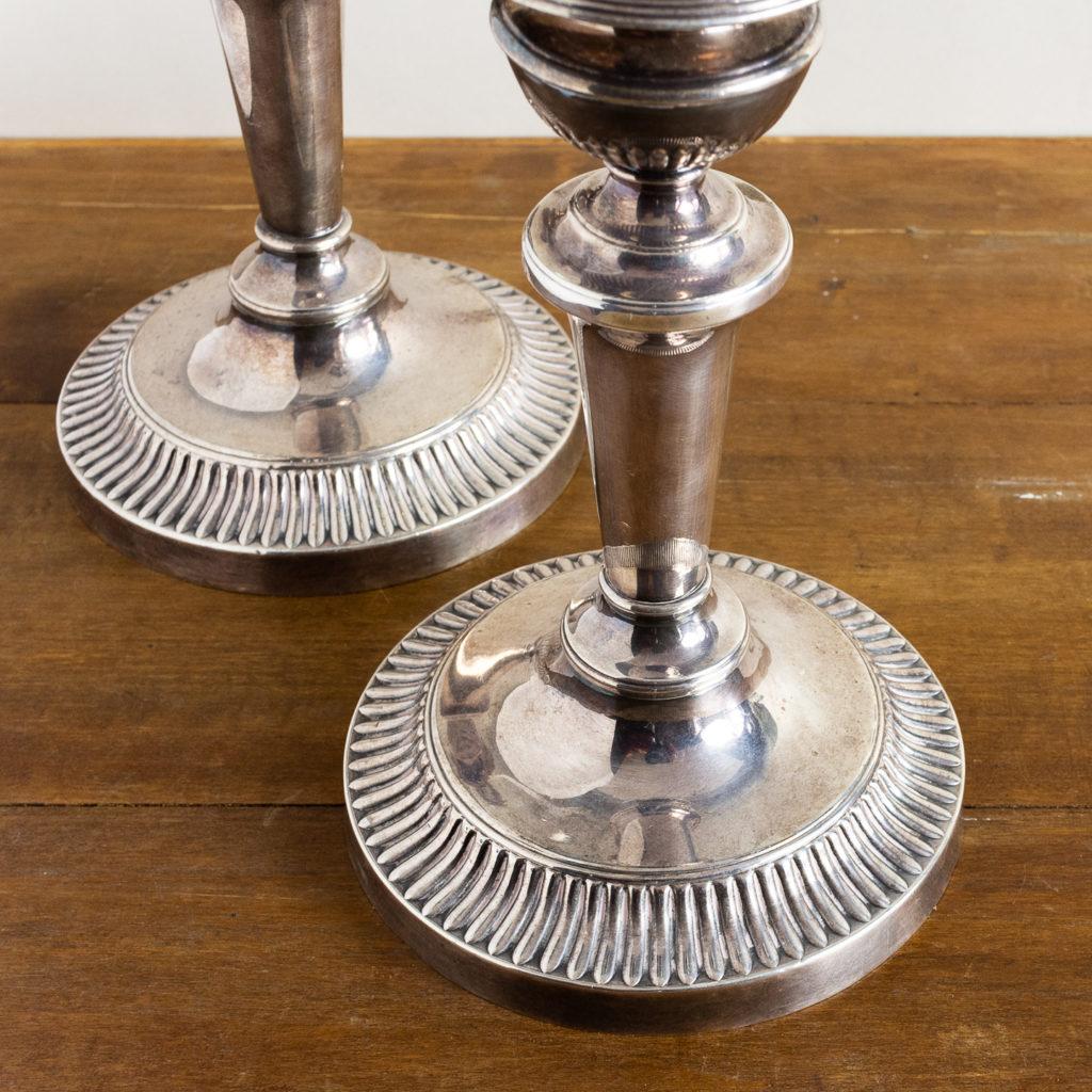 Pair of nineteenth century Sheffield plate candlesticks,-134888