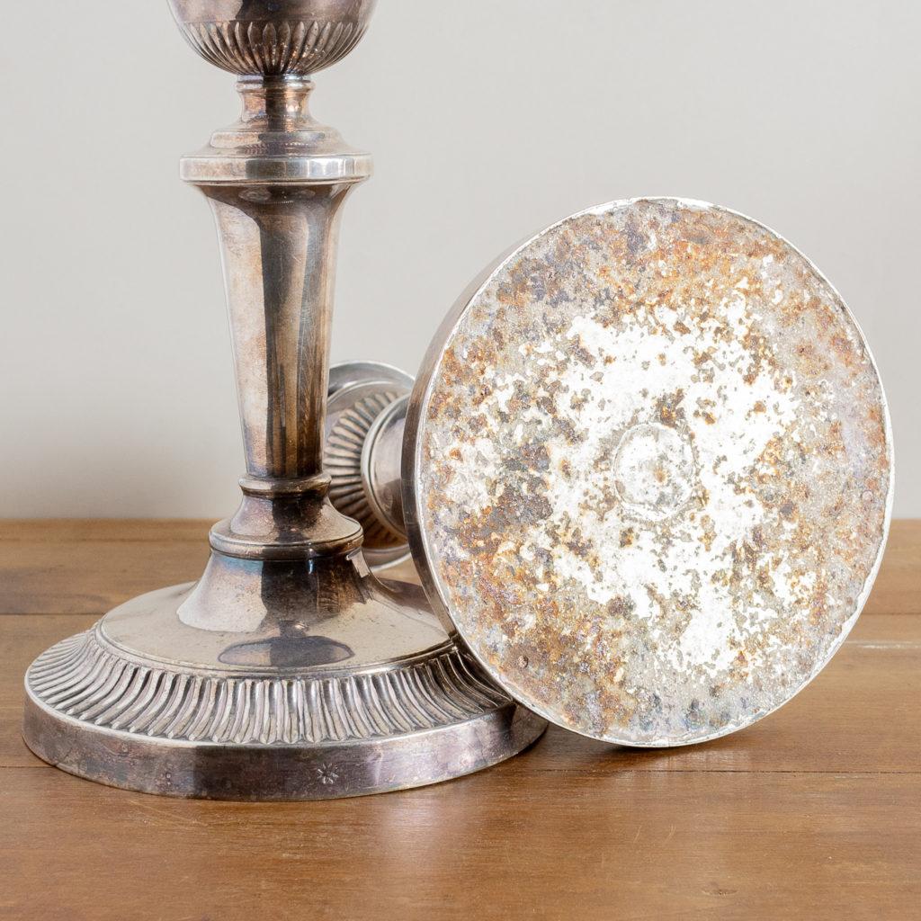Pair of nineteenth century Sheffield plate candlesticks,-134892