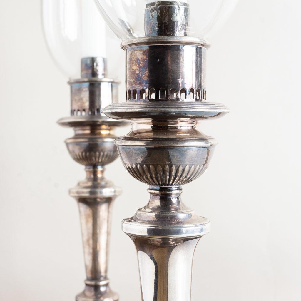 Pair of nineteenth century Sheffield plate candlesticks,-134890