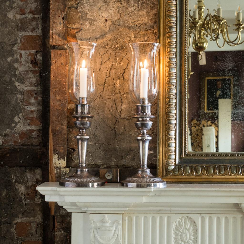 Pair of nineteenth century Sheffield plate candlesticks,