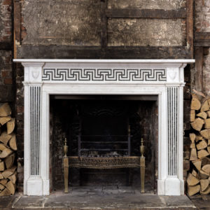 George III style white marble and inlaid chimneypiece,