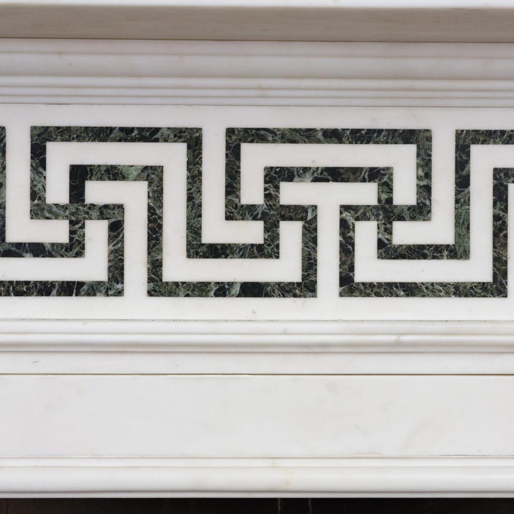 Greek-key pattern frieze of verde marble