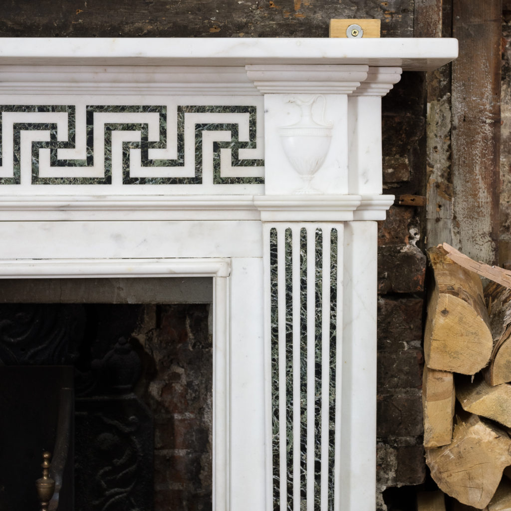 George III style white marble and inlaid chimneypiece, -134737