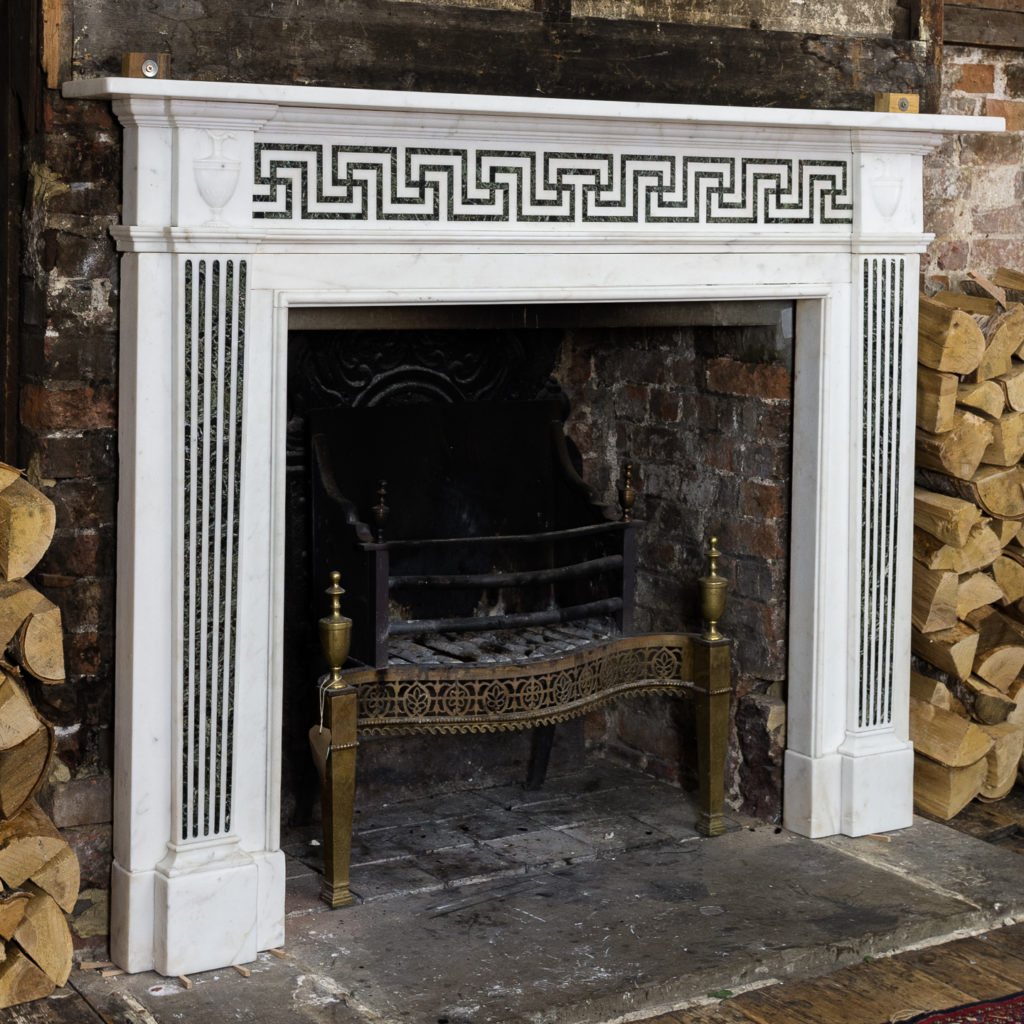 George III style white marble and inlaid chimneypiece, -134740
