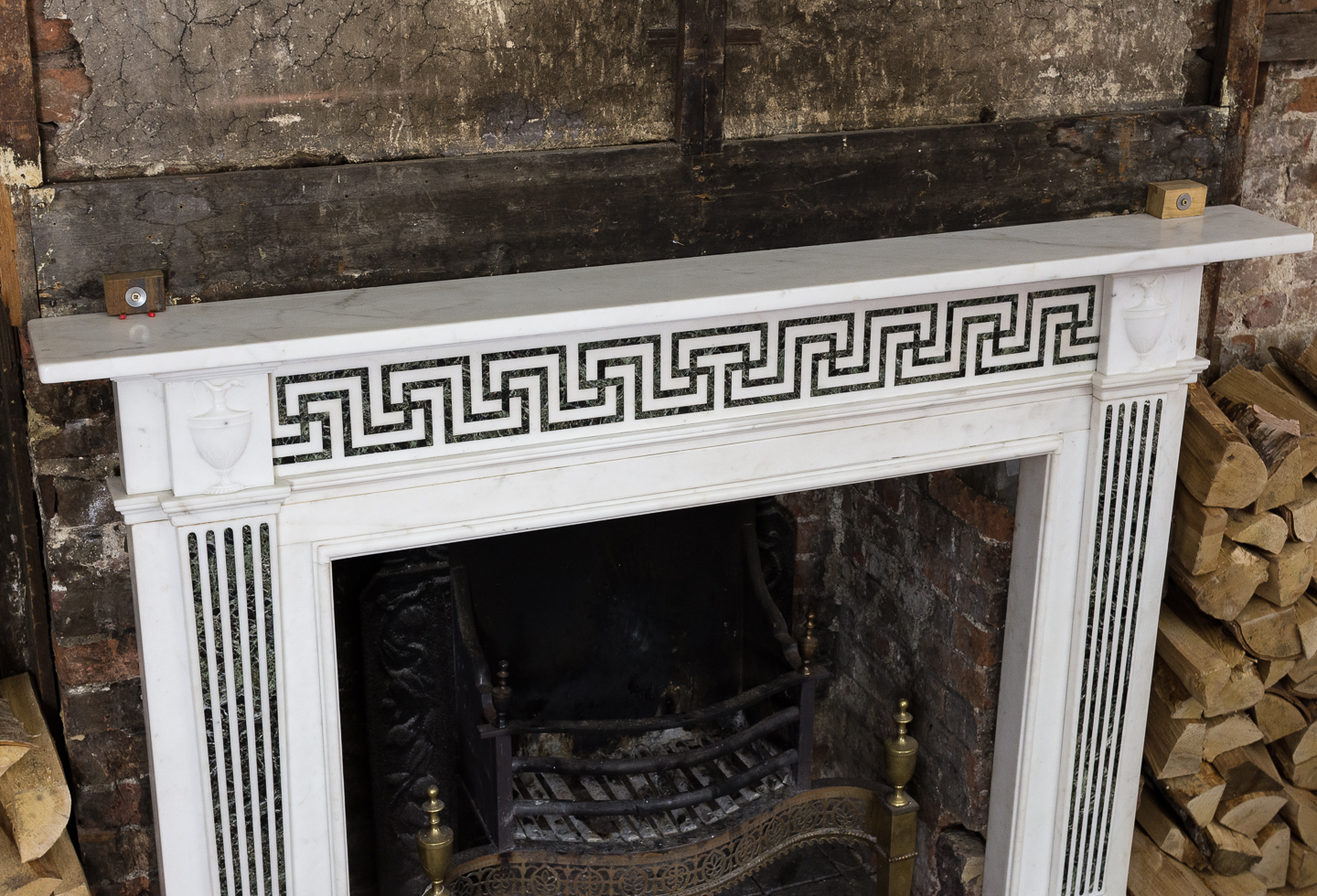 George III style white marble and inlaid chimneypiece, -134741
