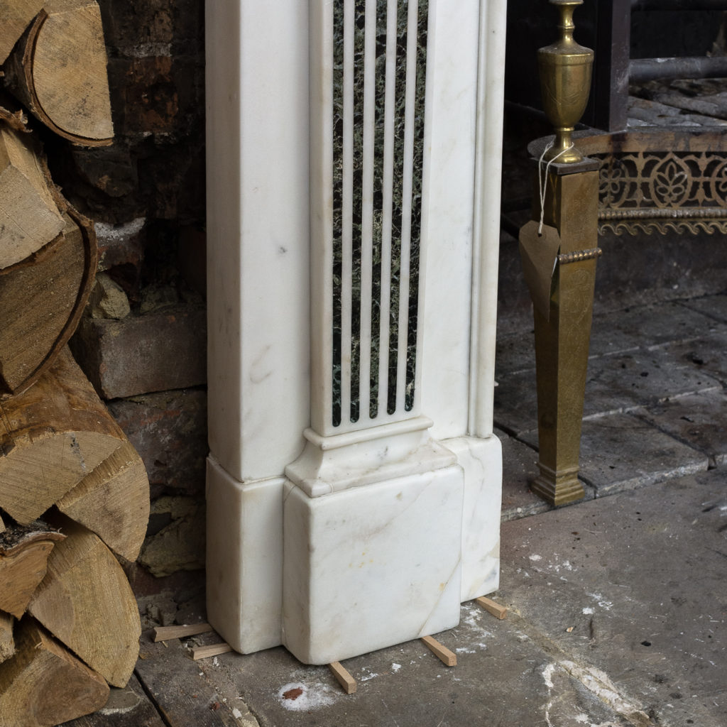 George III style white marble and inlaid chimneypiece, -134733