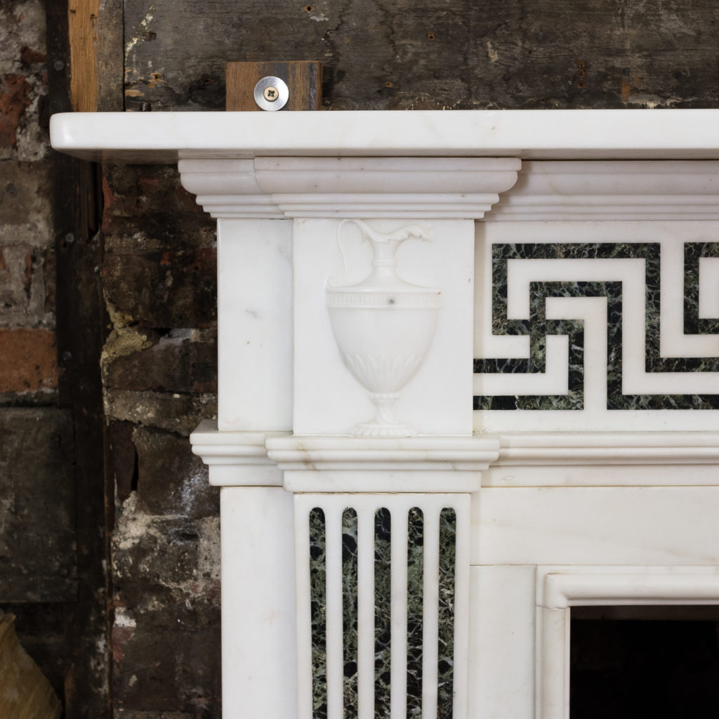 George III style white marble and inlaid chimneypiece, -134734