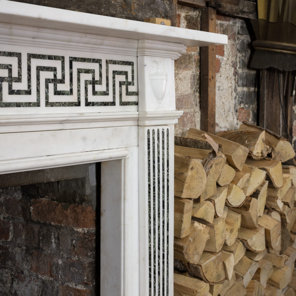 George III style white marble and inlaid chimneypiece, -134736