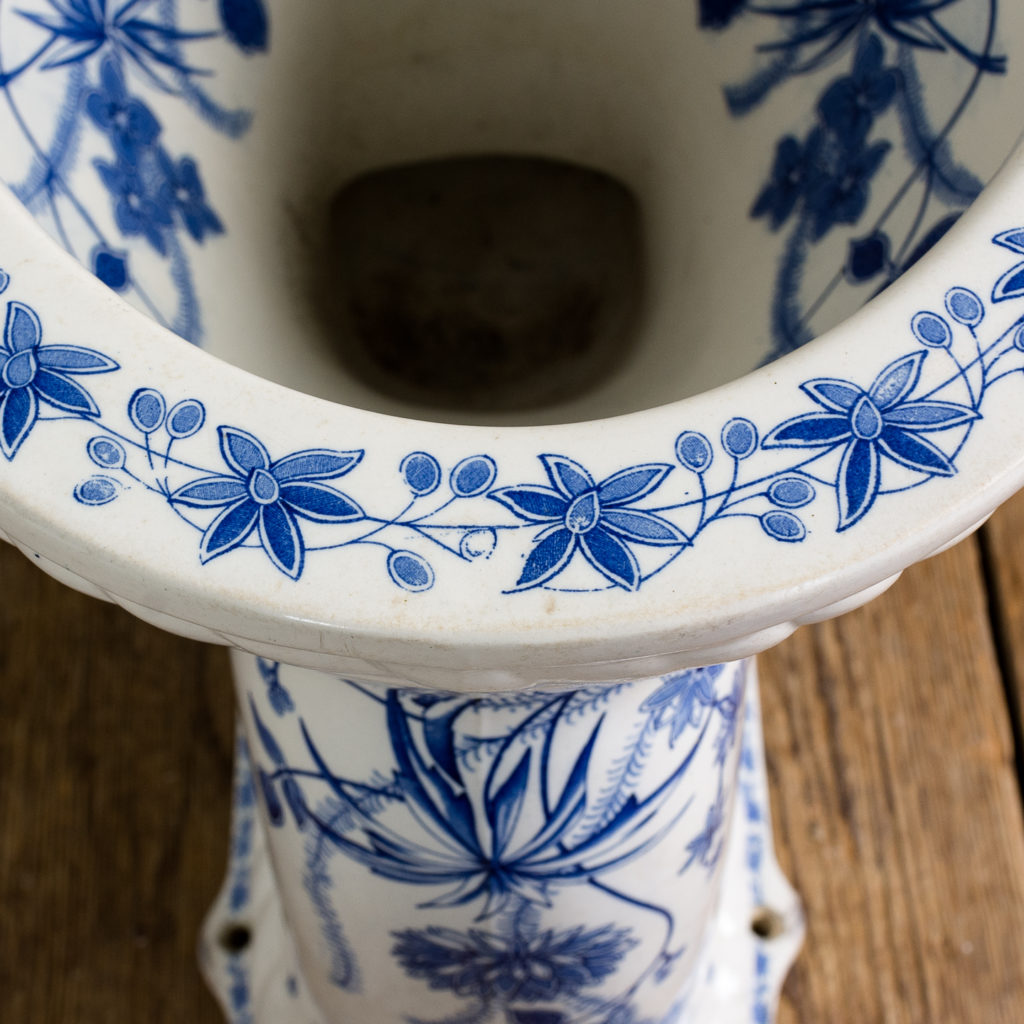 Late Victorian blue and white transfer printed lavatory pan,-134806