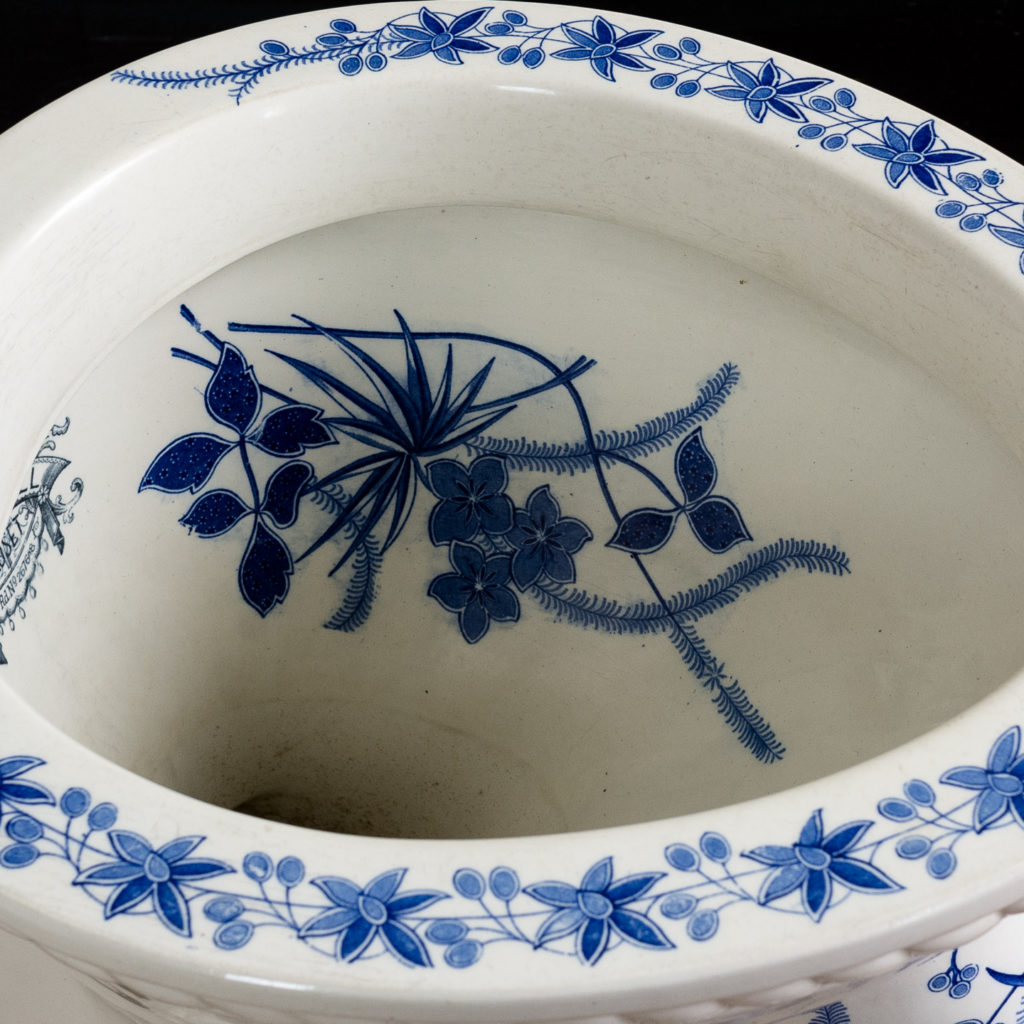 Late Victorian blue and white transfer printed lavatory pan,-134808