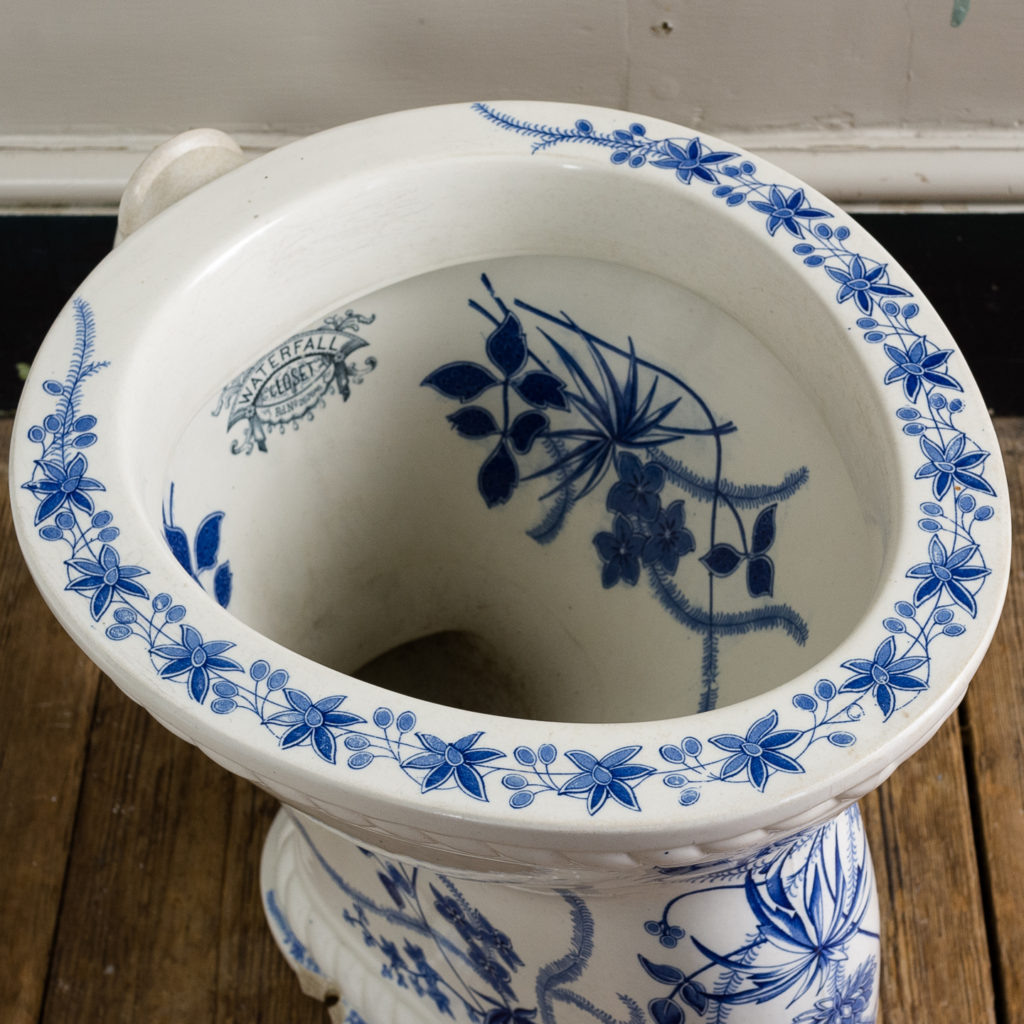 Late Victorian blue and white transfer printed lavatory pan,-134809