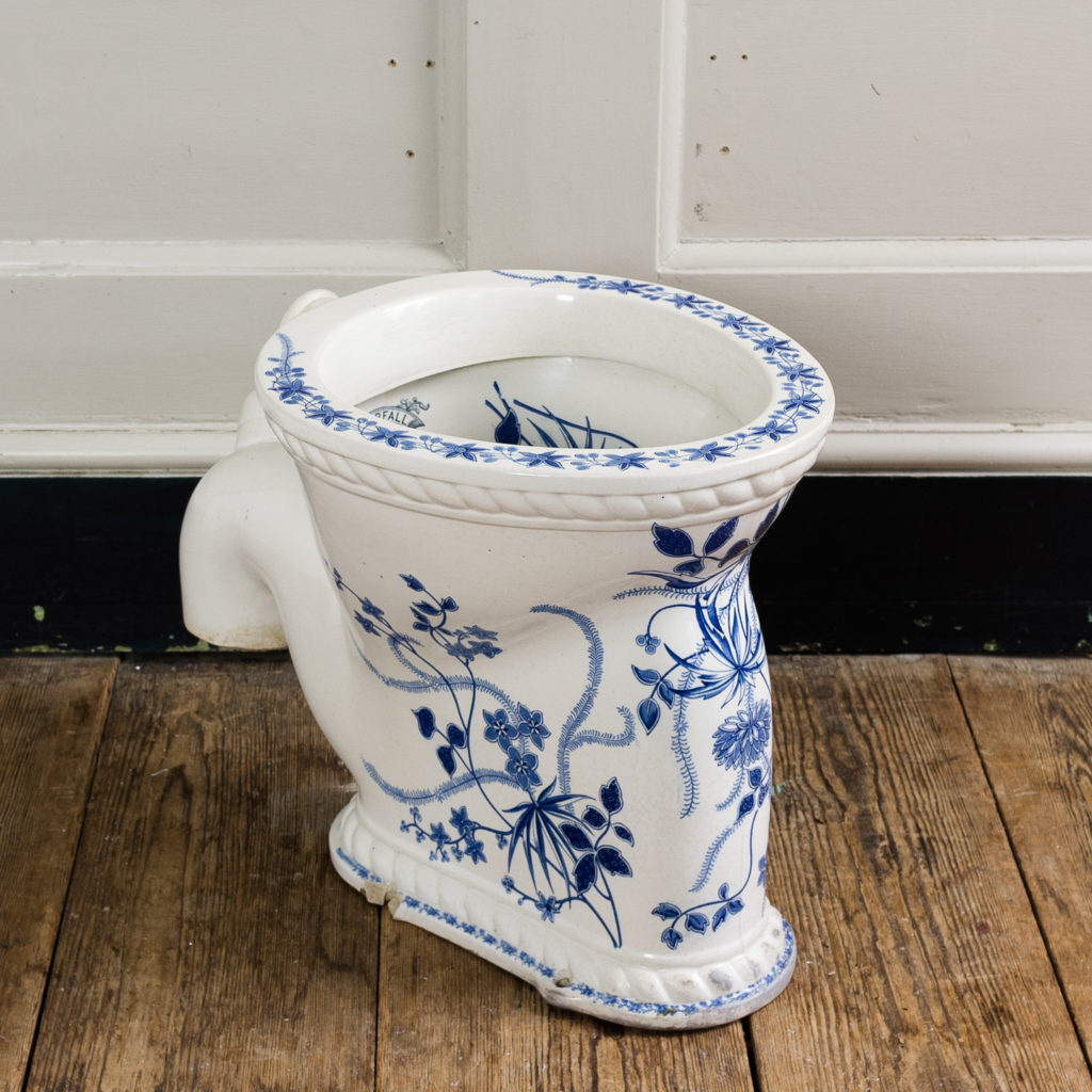 Late Victorian blue and white transfer printed lavatory pan,
