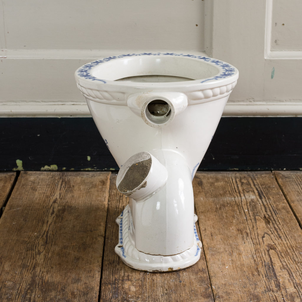 Late Victorian blue and white transfer printed lavatory pan,-134796
