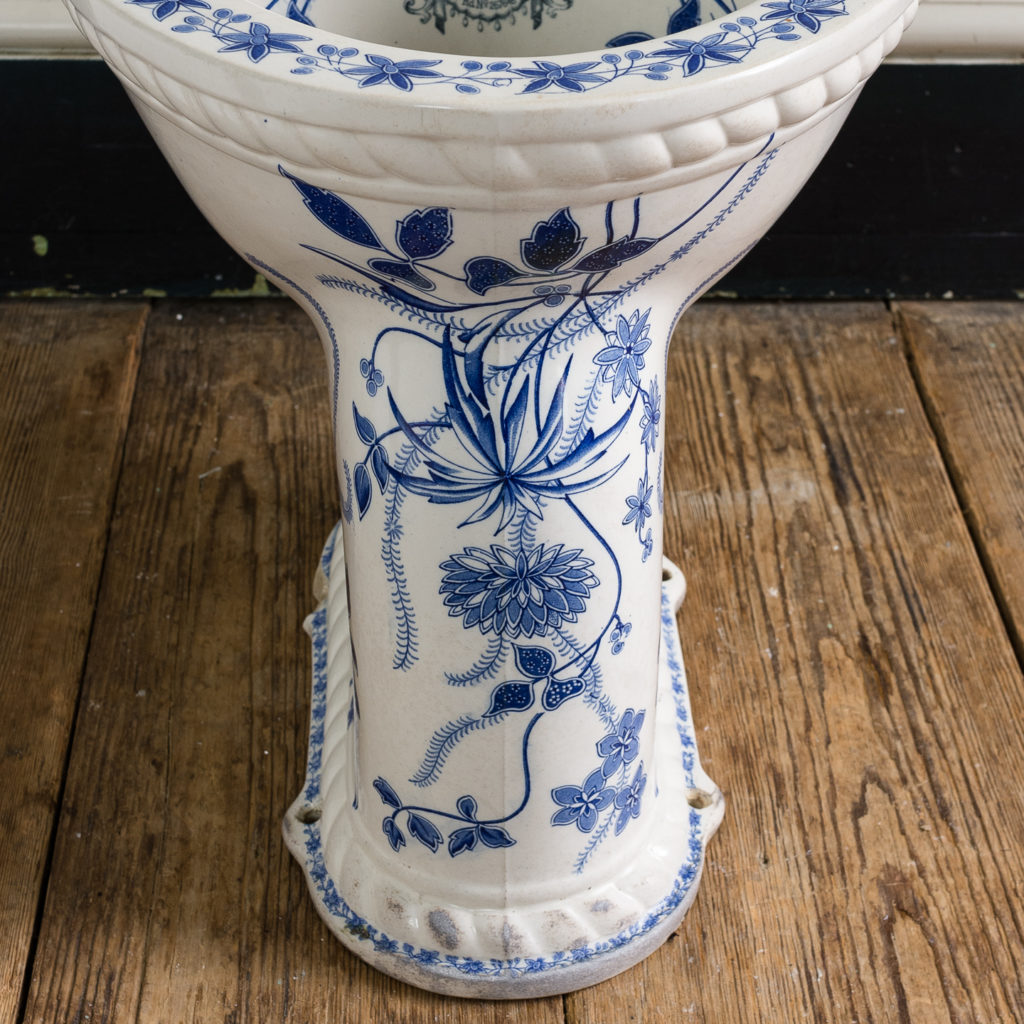 Late Victorian blue and white transfer printed lavatory pan,-134803