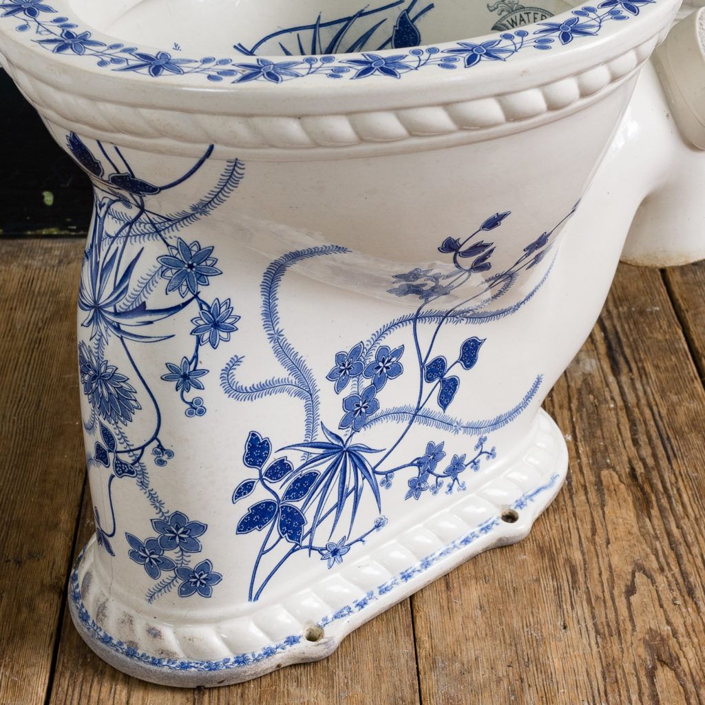 Late Victorian blue and white transfer printed lavatory pan,-134804