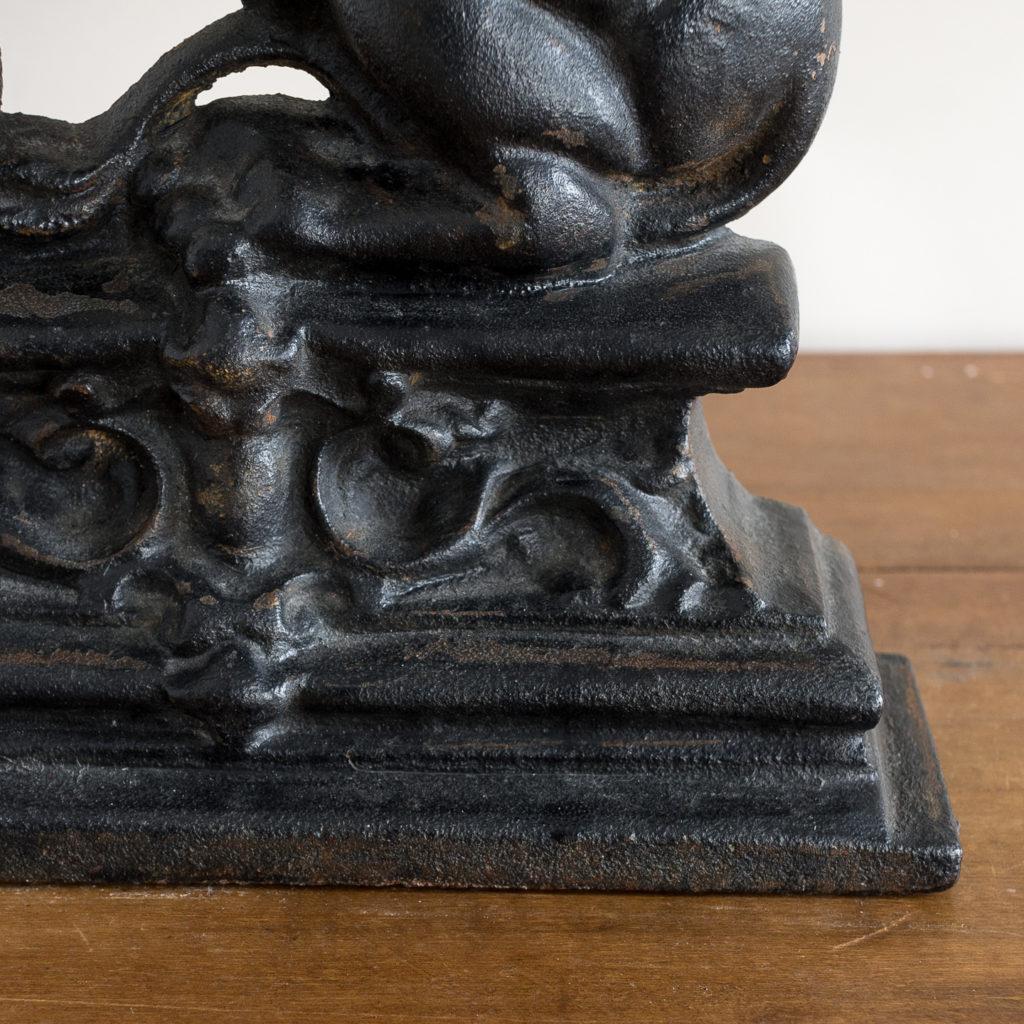 Pair of late Victorian rampant lion cast iron door stops,-134875