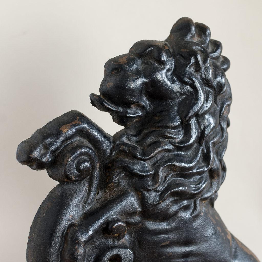 Pair of late Victorian rampant lion cast iron door stops,-134876