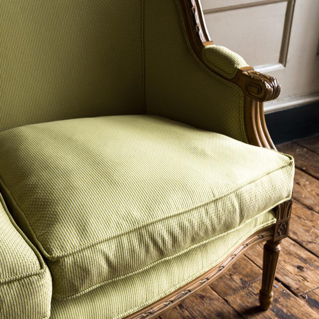 Louis XVI style beech framed canape sofa,-135082