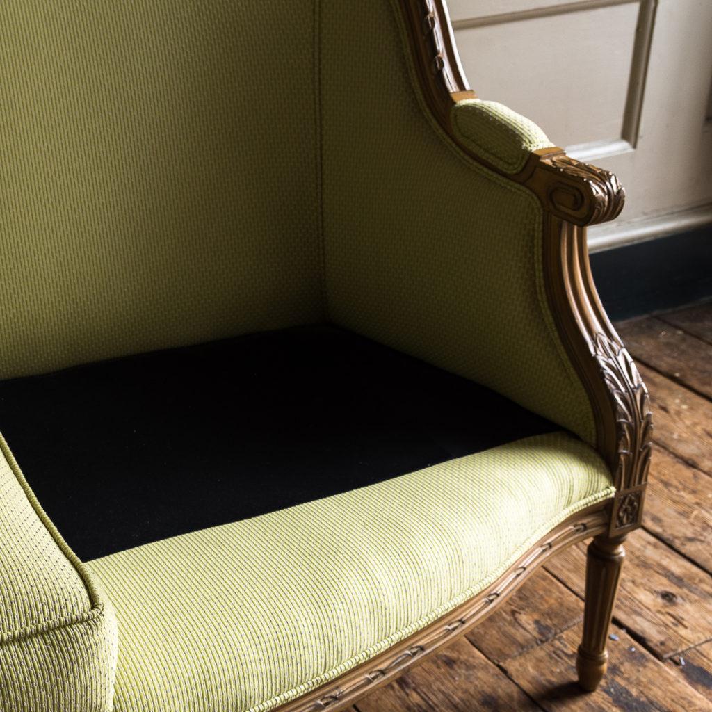Louis XVI style beech framed canape sofa,-135083
