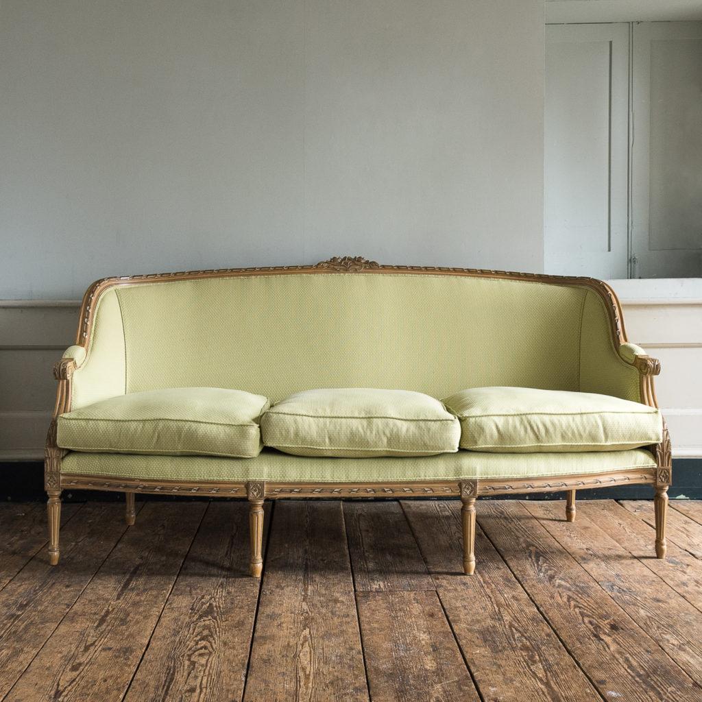 Louis XVI style beech framed canape sofa,